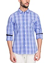 Zovi Cotton Slim Fit Casual White and Blue Checkered Shirt with Contrast Inner Sleeves(11925800801_Small)