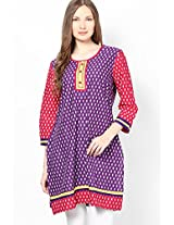 Cotton Purple Printed Kurta