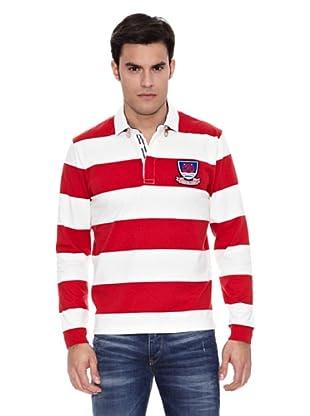 Pedro del Hierro Polo Rugby Rayas Marineras (Rojo)