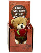 Archies Soft Toy Bear with Flowers, Multi Color (10cm)