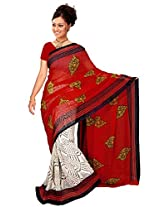 Khushali Fashion Presents Printed Georgette Saree(White & Red)