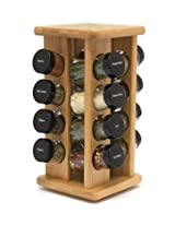 Lipper International Bamboo 16 Filled Bottle Spice Rack