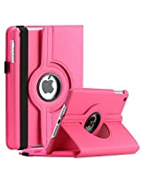 SAVEICON iPad Mini / Mini Retina / Mini 3 Case (Released 2014) - Hot Pink PU Leather Case 360 Degree Swivel Rotating Magnetic Lychee Folio Case Cover Stand for Apple iPad Mini 7.9'' Tablet with Sleep and Wake Function