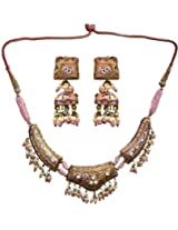 Exotic India Pink Necklace Set and Earrings with Golden Accent - Lacquer with Cut Glass