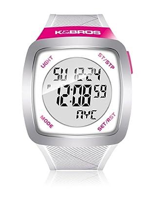 K&BROS Reloj 9567 (Blanco Fucsia)