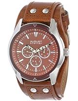 August Steiner Men's AS8073TN Quartz Multifunction Light Brown Strap Watch