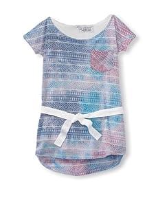 LA Lounge Girl's Tie Dye Dress with Tie (Teal)