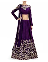Fabboom Latest Purple Colour Beautiful Unsttiched Lahenga Choli