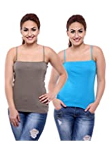 TeeMoods Pack of Two Women's Camisoles_TM-C-1509DARKGRAY&TURQ-M