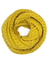 Dahlia Women's Thick Winter Cable Knit Infinity Scarf - Yellow