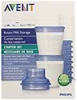Philips Avent 10 Pack BPA Free Breast Milk Storage Starter Set Clear 6 Ounce