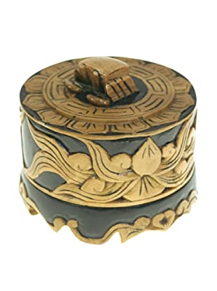 The Niger Bend Small Round Soapstone Box With Crab Top