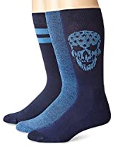Lucky Men's 3 Pair Pack Athletic Skull Crew Sock, Denim, 10-13/Shoe Size 6-12