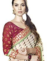 Faux Georgette Saree in Red Colour for Party Wear