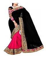 Shree Balaji Syntheticas Women's Faux Georgette Lace Saree (Multi-Coloured)
