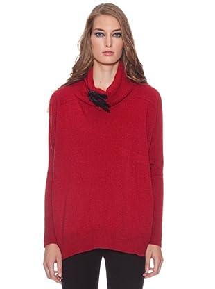 Isabel de Pedro Jersey Cuello Alto Tiras Cuero (Rojo)