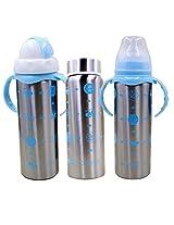 WonderKart Multifunctional Baby Steel Feeding Bottle - Blue