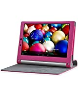 Best Deals - High Quality Leather Lenovo Yoga 2 Tablet 10 inches 1050L 1050F Flip Cover - Hot Pink