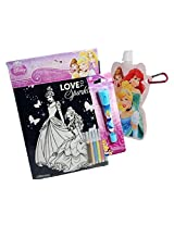 Disney Princess Gift Set (3 Items) Princess Velvet Coloring Poster, Folding Water Bottle With Carabiner Clip, Blue Pen Flashlight Combo
