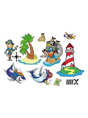 Beiwanda Kids Wandtattoo Großes Piraten Abenteuer Set 27-tlg.