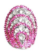 DollsofIndia Faux Ruby and Zirconia Adjustable Ring - Stone and Metal - Magenta