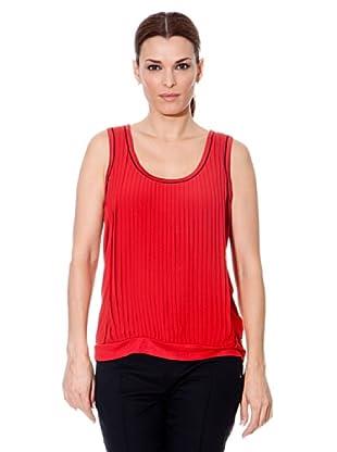 Cortefiel Camiseta Plisado (Rojo)