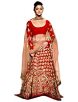Red Net Georgette With Embroidery Work Bollywood Lehenga Choli