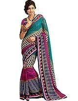 Sapphire Fashions Women's Multicoloured Silk Cotton Saree