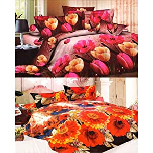 Homefab India 3D Printed Buy 1 Get 1Bed-Sheets With 4 Pillow Covers (Combo186)