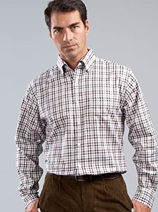 Cortefiel Camisa (blanco / morado / chocolate)
