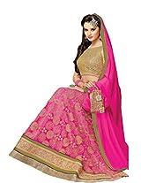 Suchi Fashion Pink & Beige Net Semi Stitched Anarkali Suit/ Lehenga