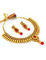Megh Craft Women's Maroon Paisley Style One Gram Gold South Indian Jewelry