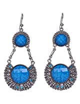 Saadi Gali Crystal Dangle & Drop Earring For Women ( Blue )