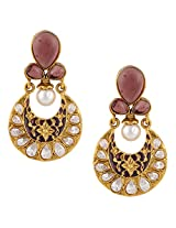 Purple exquisite meenakari mughal ad stone india bollywood ethnic earringCHEA0222PU