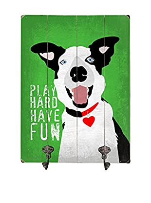 Artehouse Play Hard Have Fun Leash Hanger, Green/White
