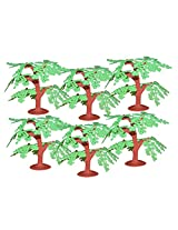 Artificial Toy Plastic Project Trees : 6 Pcs : 3.5 Inch (green tree)