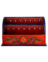Fashionable Magazine Holder Wood Red Painted Floral Magazine Holder By Rajrang