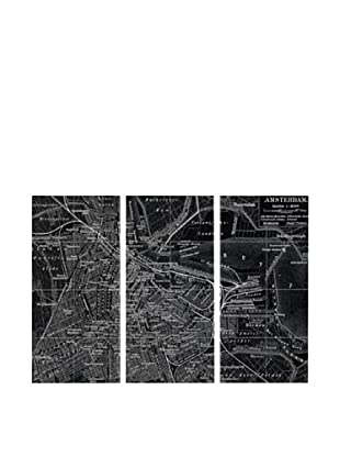 Oliver Gal Map of Amsterdam In 1905 Triptych Canvas Art