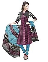 Salwar Studio Multicolor & Blue Cotton Dress Material With Dupatta RangResham-1819