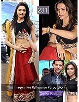 Bollywood Replica Deepika Padukone Raw Silk Lehenga In Black And Maroon Colour Nc642