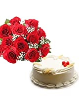 15 Red Roses with Cake