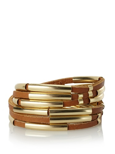 Linea Pelle Tribal Sliced Double Wrap Bracelet, Natural