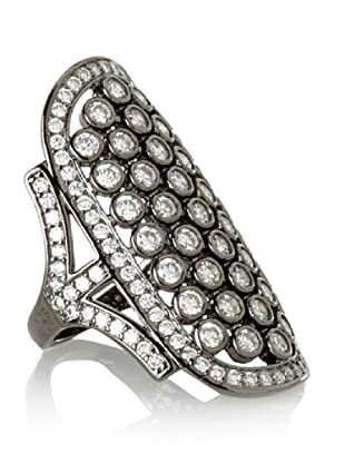 CZ By Kenneth Jay Lane Art Deco Ring (Silver)