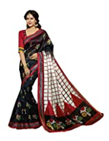 Abida Printed Blue & Red Color Bhagalpuri Art Silk Saree With Blouse Piece