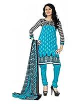 Khushali Presents Georgette Chudidar Dress Material(Sky Blue,Black)