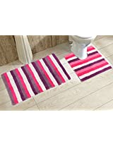 Avira Home 1500 GSM Stripes Reversible Bathmat & Contour Mat-100% Cotton-Hot Pink & White
