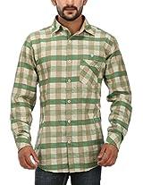 SPEAK Cotton Linen Men's Casual Green Checks Shirt (44, Green)