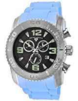 Men'S Commander Chronograph Black Dial Light Blue Silicone (10067-01-Bbls)