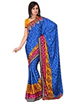 Sehgall Sarees Indian Professional Ethnic Poly Silk Crape colour blue