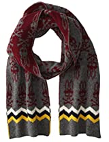 Psycho Bunny Men's Melrose Zig Zag Knitted Scarf, Cliff Grey/Maroon, One Size
